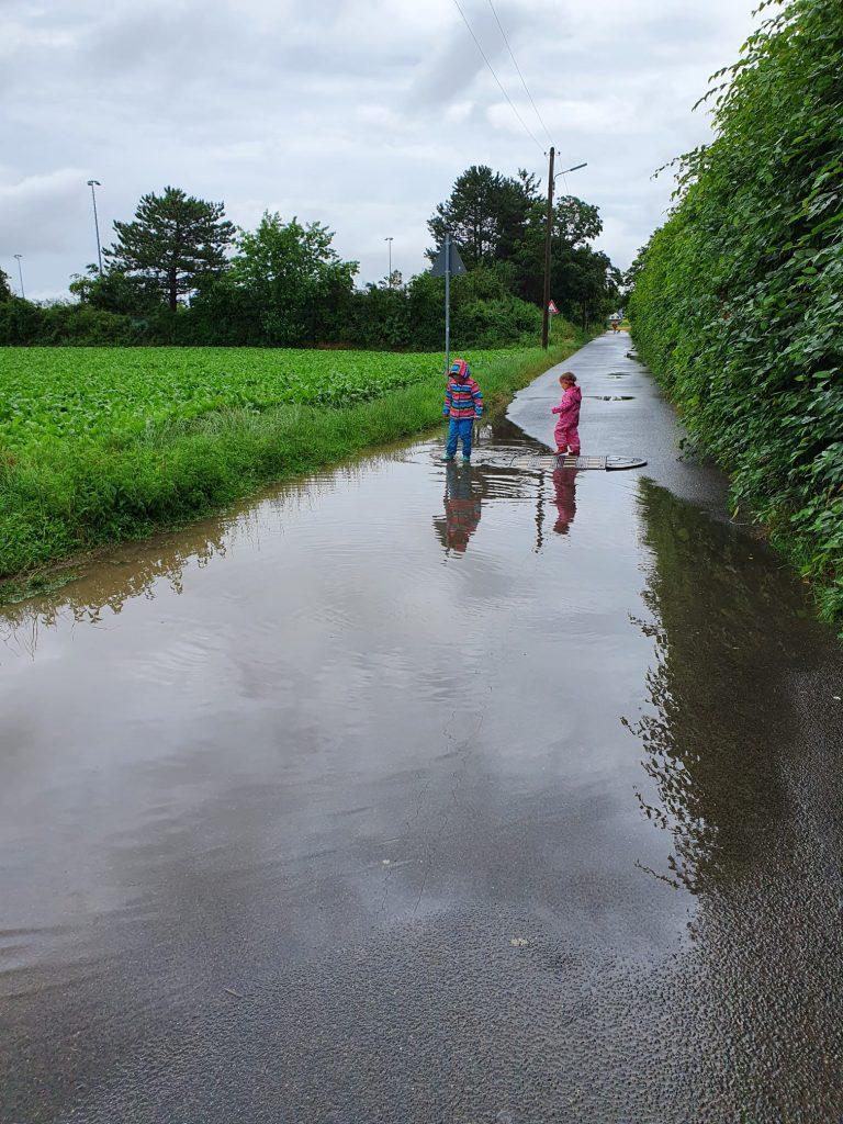 Nachhaltigkeit contra Geschenke-Wahnsinn. Vom Hochwasser verschont: nur eine große Pfütze